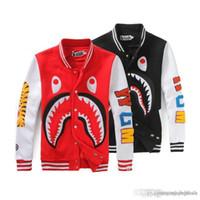 beyzbol sweatshirt siyah toptan satış-Erkek Beyzbol Hoodies Baskı Rahat Ceket Köpekbalığı Baş Ceket Amerikan Tarzı Moda Artı Boyutu Gevşek Tişörtü Siyah Kaykay Hoodies