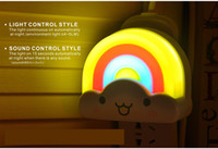 Wholesale Light Modern Night Light Sound Sensor Control Mini Rainbow Cartoon Childroom Restroom Bedroom Lamp For Baby Gift Romantic Colorful Lights