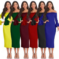 Wholesale Women Mandarin Sleeve Bodycon dress off shoulder Slim solid Dresses Cocktail Evening Party Club Long Dress package hip skirt AAA1772