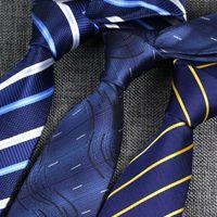 голубой галстук розовые полоски оптовых-YISHLINE SALE 8CM мужские галстуки Классический Галстук синий Для мужчин нашивки плед Серый Розовый Бизнес Жениха Tie Свадебные аксессуары