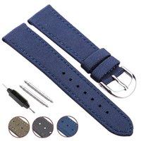 deri saat kayışı 18mm siyah toptan satış-Nato Kayış Tuval Naylon Hakiki Deri Watch Band 18mm 20mm 22mm 24mm Erkekler Siyah Mavi Yeşil Kadınlar Moda Watchband Bilezik