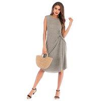 ingrosso nuova tendenza trend trend-Summer Simple Sleeveless Solid Dress Dress Female Long Section Irregular Skirt New Fashion Female Popolare Trend Style jooyoo