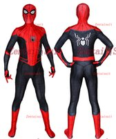 Wholesale zentai hero cosplay online - Far From Home Spiderman Costume D Printed Spandex Spider Man Superhero Costume Cosplay Zentai Suit For Adult Kids