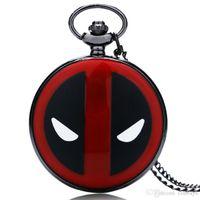 reloj infantil rojo al por mayor-Cool Deadpool Theme Reloj de bolsillo Full Hunter Black Red Design Case Hombres Mujeres Cuarzo Colgante Reloj de regalo para niños con cadena de collar