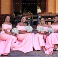 Wholesale african sweetheart wedding dresses resale online - Pink Mermaid Long Bridesmaid Dresses Off the Shoulder Satin Plus Size Nigerian African Wedding Guest Gowns Maid Of Honor Dresses