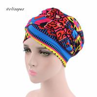 afrikanische hüte großhandel-Helisopus Frauen New African Cotton Schal Wrapped Head Turban Damen Haarschmuck Schal Hut Headwrap Long Tail Cap Chemo Hats