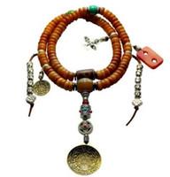 budha el kolyesi toptan satış-Tibet yaşlı yak kemik 108 el dizeleri yak boynuz Buda boncuk turkuaz bilezik necklac