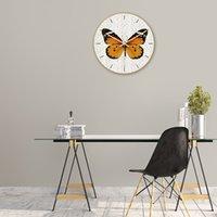 ingrosso stampa acrilica uv-Orologio da parete farfalla crepa materiale acrilico stampa UV orologio decorazione soggiorno