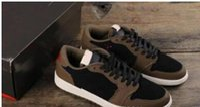 chaussures en cuir pour hommes meilleur prix achat en gros de-Dernière arrivée Travis Scott X 1 Faible OG TS SP 1s Homme Designer Chaussures de basketball Voile Sombre Moka Université Rouge Baskets Plein Air