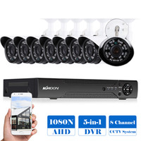 система 8ch cctv оптовых-KKmoon 8CH 1080P Hybrid Digital Video Recorder + 8*720P AHD Waterproof IR CCTV Camera + 8*60ft Surveillance Cable CCTV System