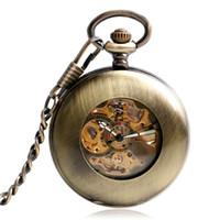 ovalo de jade al por mayor-atches con banda de cuero grueso del bronce de Steampunk del reloj de bolsillo mecánico automático retro de cobre relojes del Fob colgante Hombres Mujeres Smoo ...