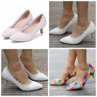 sapatos de casamento branco de princesa venda por atacado-5 cm New White Lace Sapatos de Casamento Princesa Sapatos de Bombas De Salto Alto Bombas Grossas de Salto Bombas Brancas