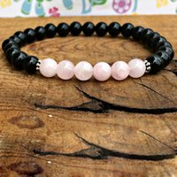 Wholesale black gem chain resale online - MG0303 Black Onyx Rose Quartz Women s Bracelet Energy Bracelet for Women Balance Chakra Crystals Gem Stone Bracelet