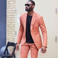yaz için en rahat kıyafetler toptan satış-Marka Yeni 2 Parça Erkek Yaz Casual Butik Business Suit Suits İyi Adam Smokin Erkek Düğün Damat Smokin Elbise Blazer (Ceket + Pantolon)