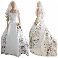 dantel kamuflaj elbiseleri toptan satış-Vintage Camo Saten Gelinlik Özel Dantel Aplikler Lace Up korse Geri Uzun Kamuflaj Yeni Batı Ülke Bohemian Gelin Elbise