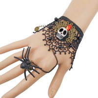 Wholesale black spider ring for sale - Group buy 2020 New Halloween Horror Ghost Bracelet Black Lace Spider Ring Imitation Glass Crystal Beads Bracelets Wristbands Party Accessories M600F