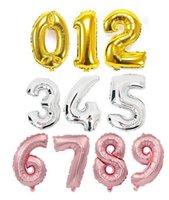 balões de ouro venda por atacado-32inch tira de ouro número folha balões decorações de festa de aniversário crianças decorações de casamento rosa de ouro balões fontes do partido