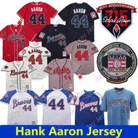 pullovers vermelhos venda por atacado-2019 Atlanta Hank Aaron Jersey Braves 715 HR patch Hall of Fame Milwaukee 1974 Brewers 1973 Creme Branco Azul Pullover Malha Vermelha Homens Mulheres