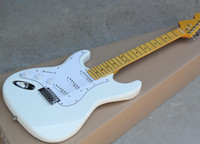 Wholesale electric guitar left handed sunburst resale online - Factory White Left Handed Electric Guitar with White Pickguard Yellow Maple Fretboard SSS Pickups Can be customized