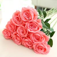 Wholesale fake pink white roses bouquet for sale - Group buy Artificial Rose Silk Flower cm Fake Rose Flower Blossom Artificial Plants for Home Wedding Decor Bridal Bouquet Party Decoration Colors