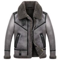 Herren B3 Shearling Jacke Herren Short Sheepskin Coat Winter Turndown Kragen Lederjacke