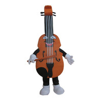 traje de mascote para a música venda por atacado-Traje feito sob encomenda do tamanho do traje da mascote do violino dos instrumentos musicais com cabeça interna do fã para anunciar o festival de música do carnaval