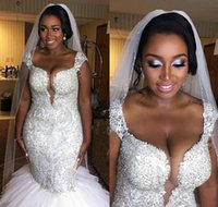 ingrosso bling abiti da sposa-Black Girl Dresses Bling Crystal Plus Size Mermaid Abiti da sposa Perline paillettes Tiers Capped Arabo Paese Abito da sposa Abito da sposa personalizzato