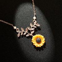 ingrosso collane di fiori di resina-3 colori Collana Nuovo Girasole Argento Oro catena della collana del collare del fiore della resina per la ragazza delle donne di modo elegante M280Y regalo dei monili