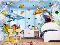 Wholesale shark room decor for sale - Group buy Custom Size D Photo Wallpaper Mural Shark Undersea World D Picture Living Room Sofa TV Backdrop Mural Home Decor Creative Hotel Wallpaper
