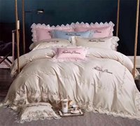 Wholesale pink ruffles lace bedding sets resale online - Pink Blue Lace Ruffle Floral Shabby Chic Duvet Cover Set with Bed sheet TC Egyptian Cotton Bedding Sets Queen King J Pieces