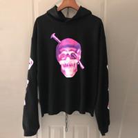 kayalık sweatshirtler toptan satış-Vlone Screwhead Hoodie Bir $ AP Kayalık Yeni Hiphop Streetwear Hoodie Mor Kafatası Baskılı Boy Kapşonlu Kazak Erkekler Siyah Kazak CPI0420