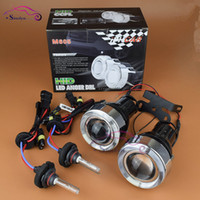 luz del proyector xenon al por mayor-Universal HID Xenon Fog Light Lens Projector con LED Angel Eyes Halo Front Driving Faros antiniebla Lentes Kit de reequipamiento Car Styling