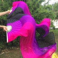 розовые вуаль для танца живота оптовых-Вертикальный цветной танец живота 100% натуральная шелковая веерная завеса Сексуальный танец живота Чистые настоящие шелковые поклонники Сценические вентиляторы Реквизит Черный / Фиолетовый / Розовый