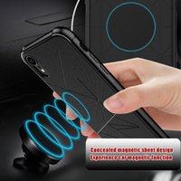porte-étui magnétique achat en gros de-Magnetic Phone Case pour iPhone Xs Max Xr 7 8 Plus Case Soft TPU Géométrie Aimant Car Case Support pour iPhone X 7 6 6 S Plus Couverture