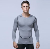 Wholesale tight gym shirts men for sale - Group buy Men Fitness Basketball Running Sports T shirts long sleeve Thermal Muscle Bodybuilding Gym Compression Tights Jacket sweater tees sweater Gr