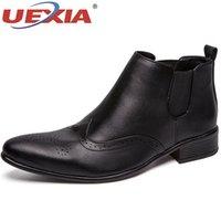 резиновые сапоги оптовых-UEXIA Bullock Роскошные мужские ботинки с резинкой Кожаные балетки Ботильоны для мужчин Итальянские деловые туфли Slip-On
