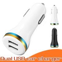 usb tragbares ladegerät für handy großhandel-Mini Micro Dual USB Auto Ladegerät Handy Ladegerät Tragbarer Netzteil 5V 1A Adapter für IOS und Android-Handys