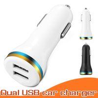 mikro araçlar toptan satış-Mini Mikro Çift USB Araç Şarj Cep Telefonu Şarj Taşınabilir Güç Adaptörü 5 V IOS ve Android Cep Telefonları için 1A Adaptörü