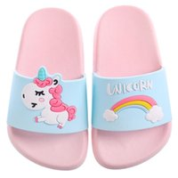 Wholesale indoor slippers for kids resale online - 2019 Summer Unicorn Slippers for Boy Girl Rainbow Shoes Toddler Animal Kids Indoor Baby Slippers PVC Cartoon Kids