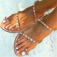 ingrosso sandali in cotone marrone-2019 moda estate marrone Flipflop donna sandali bling bling strass decor tacco piatto cinturino alla caviglia femminile partito spettacolo scarpe