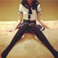 escola uniforme japonês uniforme venda por atacado-2019 Mulheres Trajes Sexy Marinheiro Saia Plissada Estudantes Japoneses Uniforme Erótico Colheita Tops Maid School Girls Cheerleader Cosplay