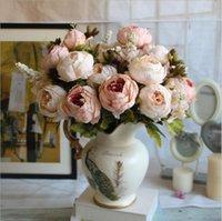 ingrosso decorazione falsa peonies-1 Mazzo europeo peonia artificiale decorativo partito di seta fiori finti peonie per la casa albergo arredamento fai da te decorazione di cerimonia nuziale corona