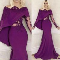 Wholesale backless diamond prom dresses resale online - 2020 New Evening Dresses Long Sleeve Purple Bridal Long Robe Bal De Promo Mermaid Sweetheart Beaded Diamond Prom Dress Custom Made