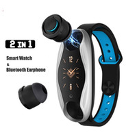Wholesale headset french resale online - LT04 Dual Bluetooth Headset Smart Bracelet Waterproof Smartbracelet Smart Watch With Bluetooth Earphone Smart Wristband for Apple Android