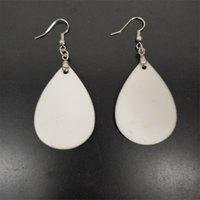 Sublimation Earrings Blank White Pendants Drop DIY Dangler Leaf Manual Handwork For Gift A03