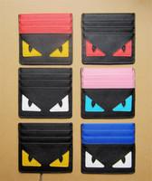 china marke mobil großhandel-Frauen FF Wallet Geldbörse Herren-Designer-Kartenhalter-Mappen-Karikatur-nette kleine Monster Nette Karten-Slots Handtaschen der Männer ultradünne B61202