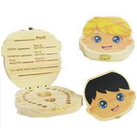 malerei baby mädchen großhandel-Malerei Baby Zahn Aufbewahrungsboxen für Kinder Sparen Milchzähne Jungen Mädchen Bild Holz Organizer Laub Zähne Boxen Kreative Geschenk Heißer