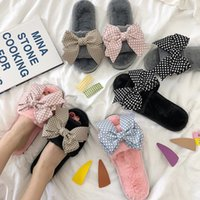 розовая обувь для польки оптовых-Sweet riband bow-knot fur slides girls 12 designs polka dot bow flat slip on shoes indoor women open toe furry home slippers
