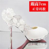 muhteşem gelin ayakkabıları toptan satış-2019 parlak muhteşem düğün gelin parti kristal yüksek topuklu bayan ayakkabıları seksi kadın pompa moda gelin ayakkabıları