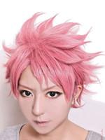 ingrosso luci fiabesche-Fairy Tail Natsu Dragneel Modeling Halloween Cosplay Cute Sweet Pink Pink Wig Spedizione gratuita Nuova parrucca di alta qualità